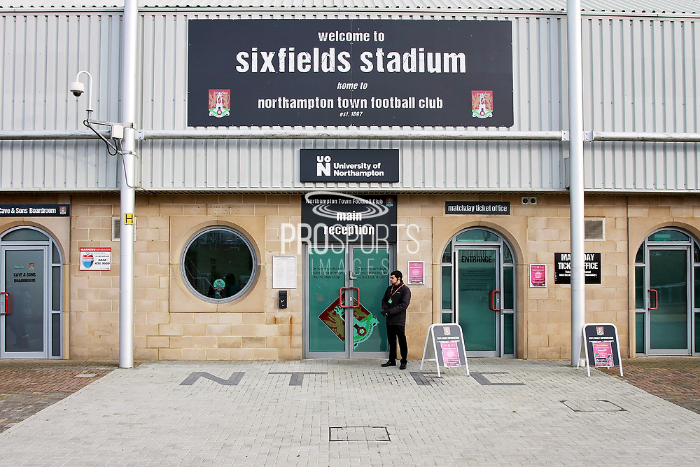 The main entrance before the EFL Sky Bet League 1 match between Northampton Town and Bury at Sixfields Stadium, Northampton, England on 25 November 2017. Photo by Nigel Cole.