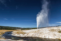 Beehive Geyser erupting on a beautiful blue sky day.  The Firehole River winds by below.  Behive Geyser is in the Upper Geyser Basin near Oldfaithful in Yellowstone National Park.