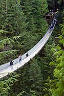 Tourists cross the Capilano Suspension Bridge over the Capilano River in North Vancouver..