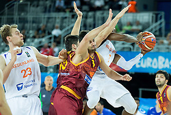 Vojdan Stojanovski of Macedonia vs Charlon Kloof of Netherlands during basketball match between Netherlands and Macedonia at Day 2 in Group C of FIBA Europe Eurobasket 2015, on September 6, 2015, in Arena Zagreb, Croatia. Photo by Vid Ponikvar / Sportida