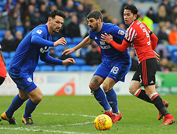 Callum Paterson of Cardiff City battles with Bryan Oviedo of Sunderland- Mandatory by-line: Nizaam Jones/JMP- 13/01/2018 -  FOOTBALL - Cardiff City Stadium - Cardiff, Wales -  Cardiff City v Sunderland - Sky Bet Championship