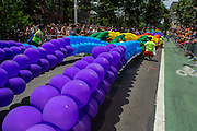 The Pride ballon arch is taken to the ground in front of the Stonewall Inn on Christopher Street, often referred to as the site of the birth of the gay rights movement.