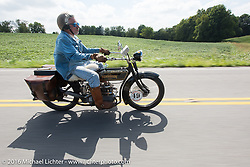 Frank Westfall riding his 1928 Henderson Deluxe during Stage 4 of the Motorcycle Cannonball Cross-Country Endurance Run, which on this day ran from Chatanooga to Clarksville, TN., USA. Monday, September 8, 2014.  Photography ©2014 Michael Lichter.