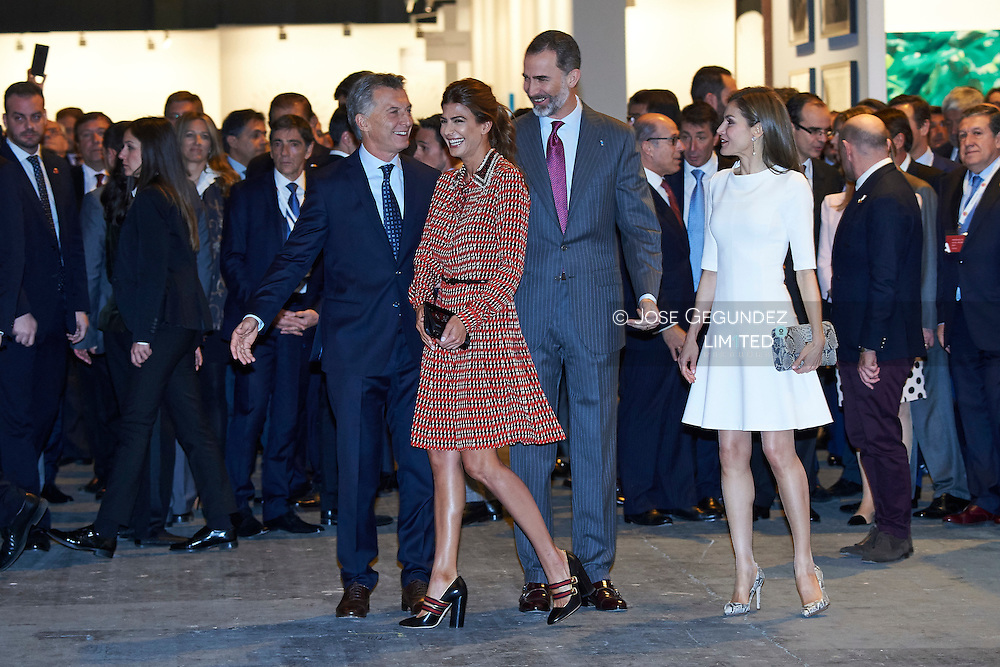 King Felipe VI of Spain, Queen Letizia of Spain, Mauricio Macri, President of Argentina, Juliana Awada attended the opening of ARCO 2017 (2017 Contemporary Art Fair) on February 23, 2017 in Madrid, Spain