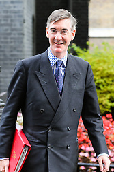 © Licensed to London News Pictures. 04/009/2019. London, UK. Leader of The House of Commons JACOB REES-MOGG departs from No 10 Downing Street after attending the weekly Cabinet Meeting. On Monday 3 Sept 2019, MP's voted by 328 - 301 with a majority of 27 to take control of the House of Commons agenda for Tuesday 4 Sept 2019. Photo credit: Dinendra Haria/LNP