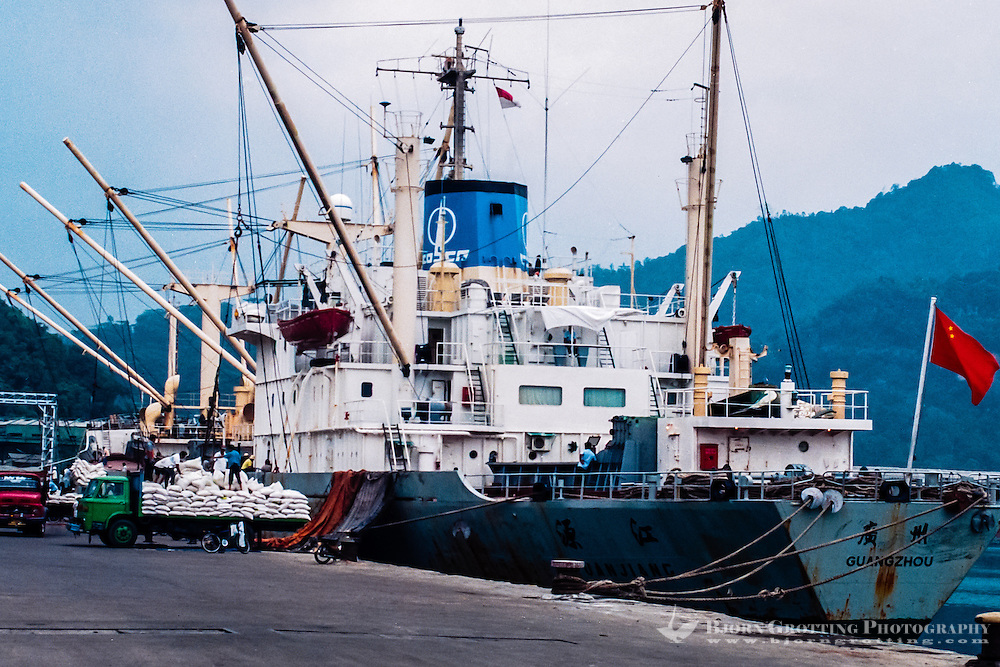 West Sumatra, Padang. Sumatra. Teluk Bayur is the harbor in Padang. Import of rice from China during the drought period 1997/98 caused by El Nino.