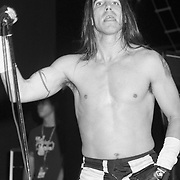 STANHOPE - AUGUST 11: Singer Anthony Kiedis of Red Hot Chili Peppers performs during Lollapalooza at Waterloo Village on August 11, 1992 in Stanhope, New Jersey. ©Lisa Lake