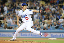 May 11, 2018 - Los Angeles, CA, U.S. - LOS ANGELES, CA - MAY 11: Los Angeles Dodgers Pitcher Kenta Maeda (18) makes the start for the Dodgers in the game between the Cincinnati Reds and the Los Angeles Dodgers on May 11, 2018 at Dodger Stadium in Los Angeles, CA.. (Photo by Peter Joneleit/Icon Sportswire) (Credit Image: © Peter Joneleit/Icon SMI via ZUMA Press)