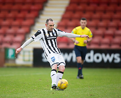 Dunfermline's Michael Moffat scoring their first goal from the penalty spot. <br /> half time : Dunfermline 1 v 2 Ayr United, Scottish League One played at East End Park, 13/2/2016.