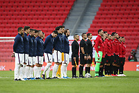 TIRANA, ALBANIA - MARCH 28: England and Albania stand for the national anthems before the FIFA World Cup 2022 Qatar qualifying match between Albania and England at the Qemal Stafa Stadium on March 28, 2021 in Tirana, Albania. Sporting stadiums around Europe remain under strict restrictions due to the Coronavirus Pandemic as Government social distancing laws prohibit fans inside venues resulting in games being played behind closed doors (Photo by MB Media)