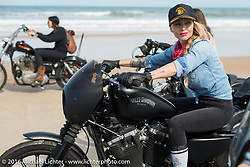"""Leticia Cline of the """"Iron Lillies"""" riding on Daytona Beach during Daytona Bike Week 75th Anniversary event. FL, USA. Thursday March 3, 2016.  Photography ©2016 Michael Lichter."""