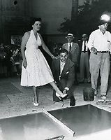 1953 Jane Russell at her hand and footprint ceremony at Grauman's Chinese Theater
