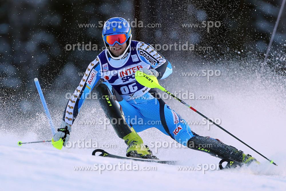 06.01.2014, Stelvio, Bormio, ITA, FIS Weltcup Ski Alpin, Bormio, Slalom, Herren, im Bild Anton Lahdenperae // Anton Lahdenperae  in action during mens Slalom of the Bormio FIS Ski World Cup at the Stelvio in Bormio, Italy on 2014/01/06. EXPA Pictures © 2014, PhotoCredit: EXPA/ Sammy Minkoff<br /> <br /> *****ATTENTION - OUT of GER*****