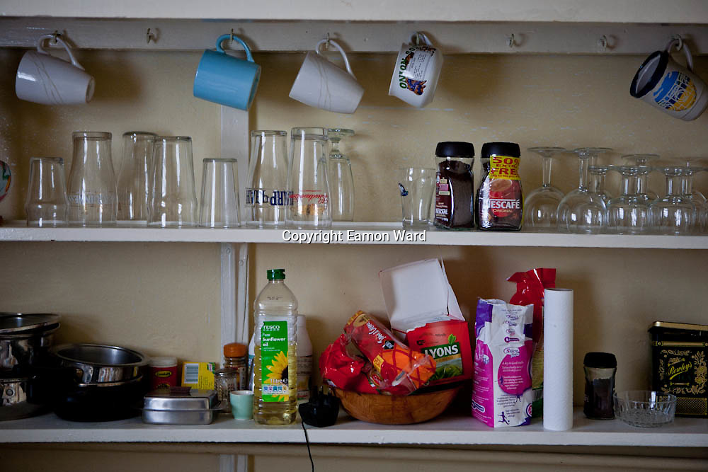 Kitchen Shelf.  Things as they were in my Uncle's house in the days of his passing, before time could alter.