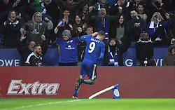 Jamie Vardy of Leicester City celebrates scoring his sides second goal - Mandatory byline: Jack Phillips/JMP - 23/01/2016 - FOOTBALL - King Power Stadium - Leicester, England - Leicester City v Stoke City - Barclays Premier League