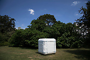 Frieze Sculpture 2017 opens to the public on July 5th 2017 in the English Gardens in Regents Park, London, England, United Kingdom. This is London's largest showcase of major outdoor works by leading artists and galleries, presenting a free outdoor exhibition for London and its international visitors throughout the summer months. John Wallbank, Untitled Sewn Cube 2016.