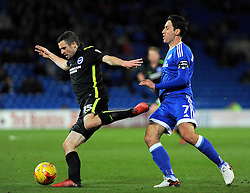 Peter Whittingham of Cardiff City fouls Jamie Murphy of Brighton & Hove Albion - Mandatory by-line: Nizaam Jones/JMP - 03/12/2016 -  FOOTBALL - Cardiff City Stadium - Cardiff, Wales -  Cardiff City v Brighton and Hove Albion - Sky Bet Championship