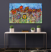 """'WILDflowers,' 30"""" x 48,"""" Acrylic on Ink on Canvas, 2017. See (Price and Availability). <br /> <br /> ABOUT: One of my most popular pieces. Occasionally, not my usual painting style, these little critters show up and demand that they be given life, allowed to come together and play. Who am I to deny them this opportunity. They each have their own personalities. They want to sing and dance and celebrate life.<br /> <br /> Many things going on in this painting - you can gaze for quite awhile and not see all there is to see - playful and relaxing or tormenting - guess it all depends on where your head is at. A great deal of detail."""