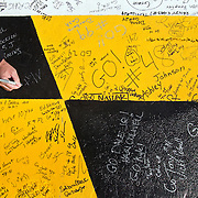 Fans had the chance to sign their autographs to the finish line prior to the NASCAR Sprint Cup Series Price Chopper 400 on October 3, 2010 at Kansas Speedway in Kansas City, Kan.