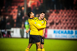 Falkirk's Lyle Taylor and Jonathan Flynn cele to fans at the ned of the game.Dunfermline 0 v 1 Falkirk, 26/12/2012..©Michael Schofield.