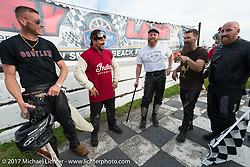 Billy Lane with racers Moonshiner Josh Owens, Matt Harris, Matt Walkser and the winner Ebay Jake at his Sons of Speed vintage motorcycle racing during Biketoberfest. Daytona Beach, FL, USA. Saturday October 21, 2017. Photography ©2017 Michael Lichter.