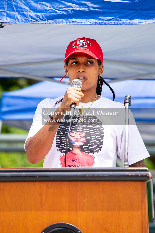 Wilkes-Barre, PA (July 11, 2020) -- A speaker addresses the crowd at theBlack Lives Matter NEPA United Movement event at Wilkes-Barre Public Square.
