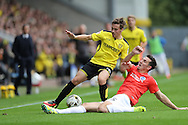 Brighton & Hove Albion central defender Lewis Dunk (5) makes a tackle during the EFL Sky Bet Championship match between Burton Albion and Brighton and Hove Albion at the Pirelli Stadium, Burton upon Trent, England on 17 September 2016.