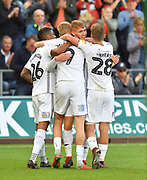 Goal - Jay Fulton (27) of Swansea City celebrates scoring a goal to give a 3-0 lead to the home team during the EFL Sky Bet Championship match between Swansea City and Queens Park Rangers at the Liberty Stadium, Swansea, Wales on 29 September 2018.