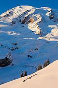 View of Mount Rainier across the Nisqually Glacier from Paradise in Mount Rainier National Park, Washington.