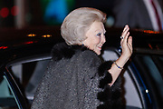 Celebration of the 75th anniversary of the Queen, with ballet of Introdans, for (former) employees and family in Utrecht<br /> <br /> On the photo:  Queen Beatrix
