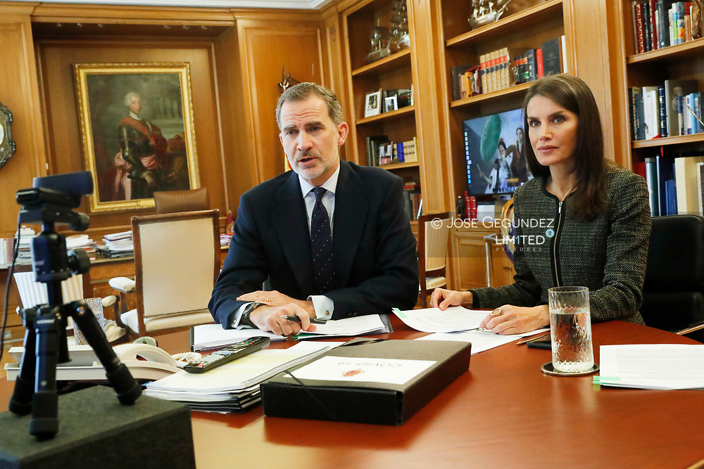King Felipe VI of Spain, Queen Letizia of Spain attends a videoconference with General Council of Official Pharmaceutical Colleges at Zarzuela Palace on May 13, 2020 in Madrid, Spain