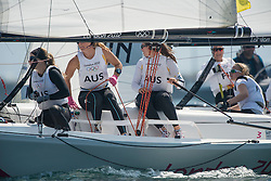 10.08.2012, Bucht von Weymouth, GBR, Olympia 2012, Segeln, im Bild Curtis Nina, Whitty Lucinda, Price Olivia, (AUS, Match Race) // during Sailing, at the 2012 Summer Olympics at Bay of Weymouth, United Kingdom on 2012/08/10. EXPA Pictures © 2012, PhotoCredit: EXPA/ Juerg Kaufmann ***** ATTENTION for AUT, CRO, GER, FIN, NOR, NED, .POL, SLO and SWE ONLY!