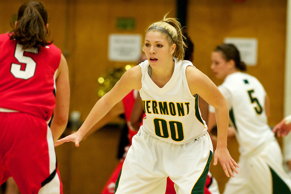 The women's basketball game between the Fairfield Stags and the Vermont Catamounts at Patrick Gymnasium on November 16, 2011 in Burlington, Vermont. Photo by Brian Jenkins.