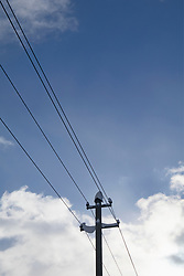 Low angle view of snow on electricity pylon against sky