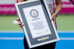 PORTOROZ, SLOVENIA - SEPTEMBER 19:  Katarina Srebotnik of Slovenia awarded by Guinness record at Trophy ceremony after Doubles final during the WTA 250 Zavarovalnica Sava Portoroz at SRC Marina, on September 19, 2021 in Portoroz / Portorose, Slovenia. Photo by Vid Ponikvar / Sportida