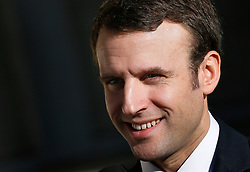 French Minister of Economy, Recovery of Productivity and Digital Affairs Emmanuel Macron visits a Gascogne group plant, producer of wood products in Mimizan, southwestern France on December 15, 2014. Photo by Patrick Bernard/ABACAPRESS.COM