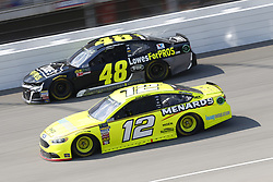 August 12, 2018 - Brooklyn, Michigan, United States of America - Ryan Blaney (12) and Jimmie Johnson (48) battle for position during the Consumers Energy 400 at Michigan International Speedway in Brooklyn, Michigan. (Credit Image: © Chris Owens Asp Inc/ASP via ZUMA Wire)
