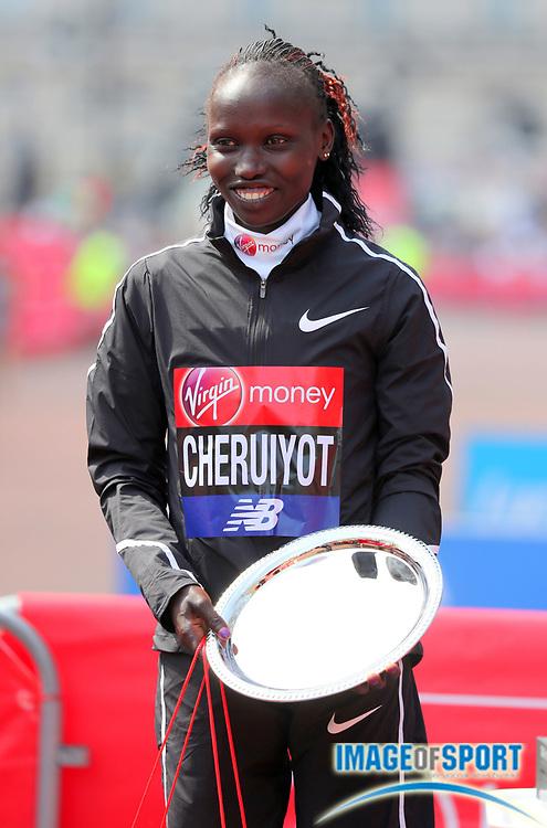 Vivian Cheruiyot (KEN) poses after winning the women's race in 2:18:31 in the London Marathon in London, Sunday, April 22, 2018. (Jiro Mochizuki/Image of Sport)