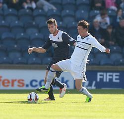 Falkirk's Kieran Duffie and Raith Rovers Joe Cardle.<br /> Half time : Raith Rovers 1 v 0 Falkirk, Scottish Championship 28/9/2013.<br /> ©Michael Schofield.