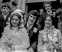 Wedding of Abercorn Restaurant bomb victim, Rosaleen McNern, pictured with her husband, Brendan Murrin, from Killybegs, Co Donegal, Rep of Ireland. They were married in Belfast 4th August 1972. Pictured right with them are the best man and bridesmaid. 19720804028b<br /> <br /> Copyright Image from Victor Patterson, Belfast, UK<br /> <br /> t: +44 28 9066 1296 (from Rep of Ireland 048 9066 1296)<br /> m: +44 7802 353836<br /> <br /> victorpattersonbelfast@gmail.com<br /> <br /> www.victorpatterson.com OR <br /> www.images4media.com<br /> <br /> Please see my Terms and Conditions of Use at https://www.victorpatterson.com/page2<br /> It is IMPORTANT that you familiarise yourself with them.<br /> <br /> Images used on the Internet incur an additional cost and must be visibly watermarked i.e. © Victor Patterson within the body of the image and copyright metadata must not be deleted. Images used on the Internet have a size restriction of 4 kbs and are chargeable at rates available at victorpatterson.com.<br /> <br /> This image is only available for the use of the download recipient i.e. television station, newspaper, magazine, book publisher, etc, and must not be passed on to any third party. It is also downloaded on condition that each and every usage is notified within 7 days to victorpattersonbelfast@gmail.com.