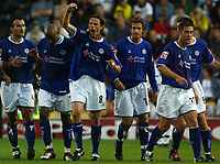 Photo: Daniel Hambury<br /> The Coca Cola Championship<br /> Derby County V Leicester City 11/08/2004<br /> <br /> Leicester City's  Lilian Nalis celebrates his goal<br /> <br /> NORWAY ONLY