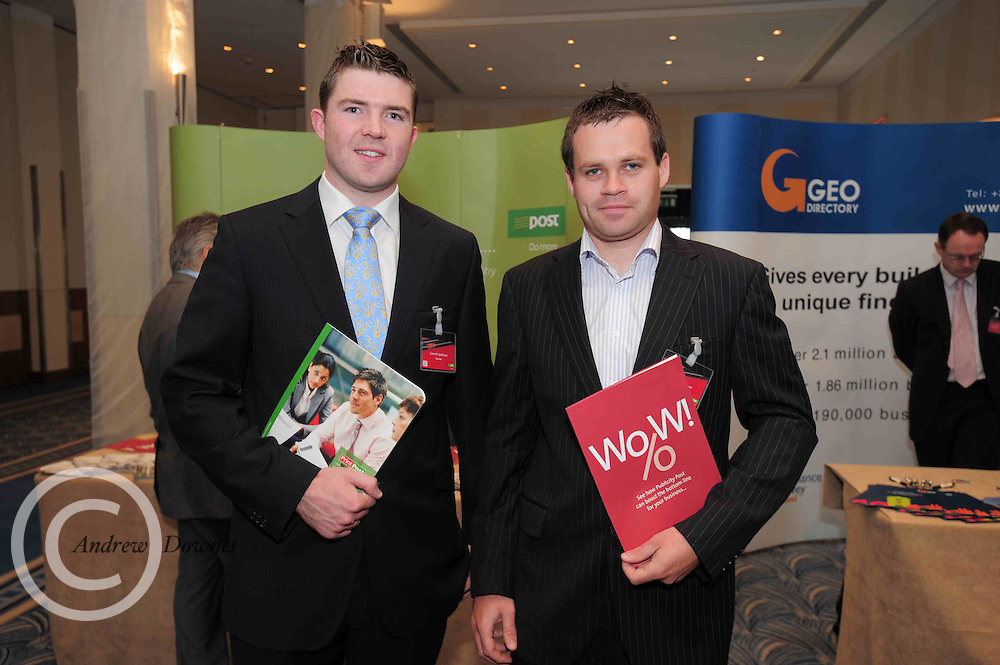 Garrett and Simon Spellman Filp Save who attended the An Post Driving Success Roadshow at the Radisson Hotel, Galway. The event focused on practical and creative marketing techniques and saw attendees gain valuable insights into successful campaigns from leading marketing experts. Broadcaster Matt Cooper was MC at the event. .Photo:Andrew Downes