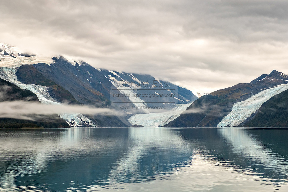 View of the Cascade, left, Barry, center, and Coxe glaciers in Barry Arm in Harriman Fjord, near Whittier, Alaska