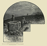 TEKU'A, THE SITE OF TEKOA. Showing the remains of a Byzantine church, and its massive baptismal font of octagonal form. Wood engraving of from 'Picturesque Palestine, Sinai and Egypt' by Wilson, Charles William, Sir, 1836-1905; Lane-Poole, Stanley, 1854-1931 Volume 3. Published in by J. S. Virtue and Co 1883