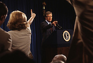 President Jimmy Carter selects  a reporter for a question at a press conference in the East Room of the White House in July 1979.<br /> <br /> Photograph by Dennis Brack<br /> bb45