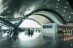 Interior of  terminal building of new Hamad International Airport in Doha, Qatar