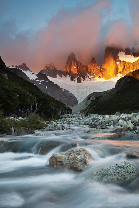 Sunrise upon Montt Fitz Roy and clouds in a mountainous lanscape in Patagonia, Chile.