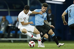 (L-R) Goncali Guedes of Portugal, Nahitan Nandez of Uruguay during the 2018 FIFA World Cup Russia round of 16 match between Uruguay and at the Fisht Stadium on June 30, 2018 in Sochi, Russia