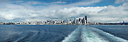 Panoramic view of downtown Seattle, Washington across Elliot Bay from the Bainbridge Island ferry.