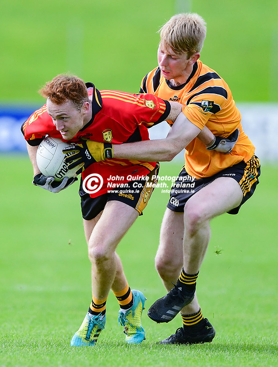 Cian Gallogly Dunshaughlin and Cathal Cassidy Nobber    during the Dunshaughlin v Nobber SFC relegation match in Pairc Tailteann, Navan.<br /> <br /> Photo: GERRY SHANAHAN-WWW.QUIRKE.IE<br /> <br /> 03-10-2020